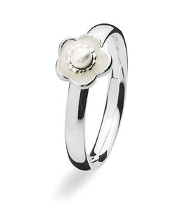 sterling silver Max ring with enamel flower motif
