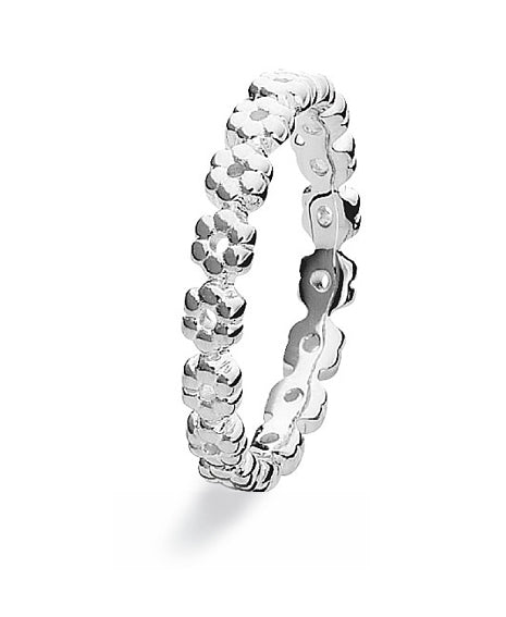 Sterling silver Max ring with flower motif on band.