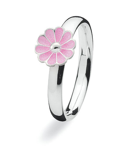 Sterling silver Max ring with pink enamelled flower