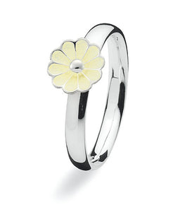 Sterling silver Max ring with yellow enamelled flower.