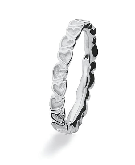 Sterling silver Max ring with heart motif on band.