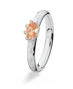 Sterling silver Max ring with champagne cubic zirconia.