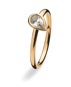 9 carat gold ring with tear shaped cubic zirconia