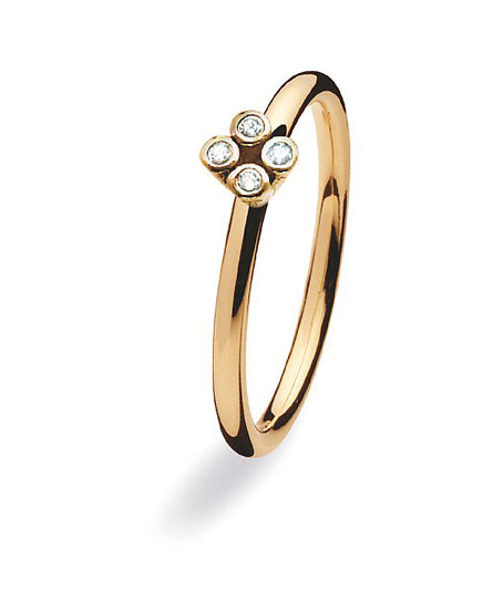 9 carat gold ring with setting of cubic zirconias