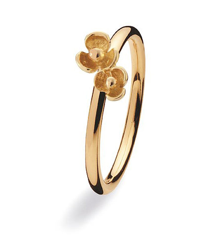 9 carat gold ring with floral motif.