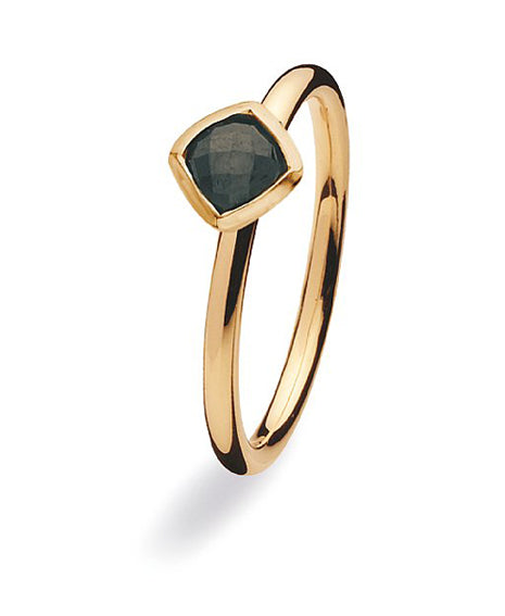 9 carat gold Spinning ring with black cubic zirconia.