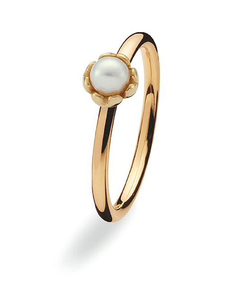 9 carat gold Spinning ring with freshwater pearl setting