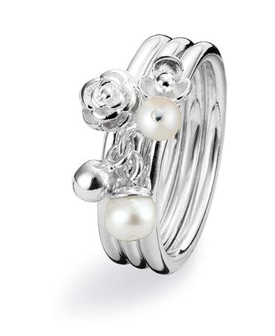 Sterling silver ring combination featuring freshwater pearls