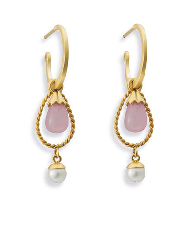 Earrings with Sterling silver, gold plate and rose quartz.