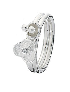 Sterling silver Spinning Jewelry combination featuring cubic zirconia
