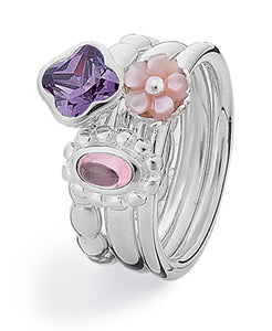 Sterling silver ring combination featuring amethyst, pink mother-of-pearl and cubic zirconia.