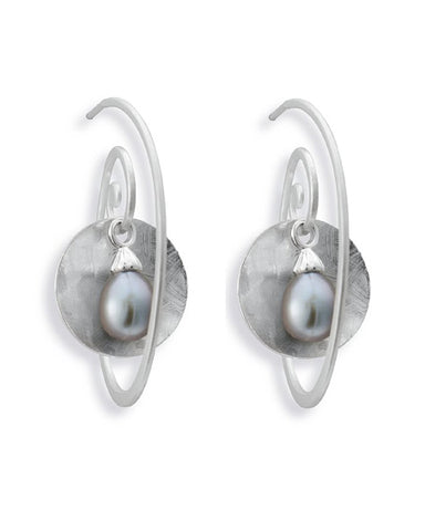 Earring combination 'BELLA' from Spinning Jewelry features sterling silver and grey freshwater pearls.