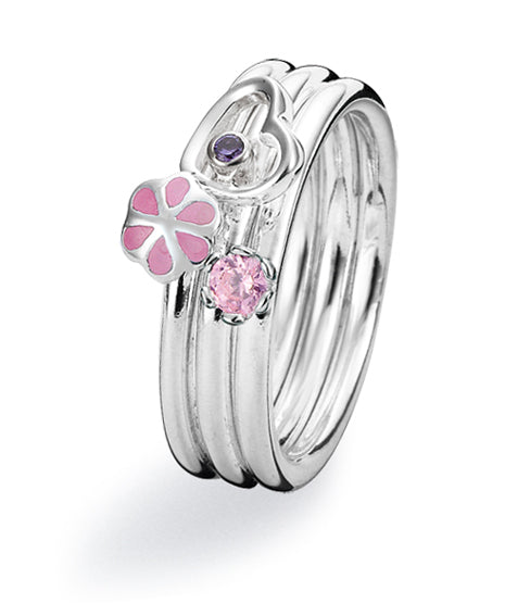 Sterling silver ring combination featuring amethyst cubic zirconia, pink cubic zirconia and enamel.