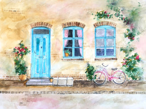 Fine Art Print : Old Town with Bicycle