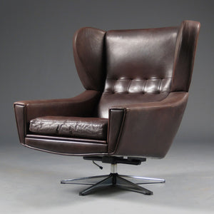 Vintage Danish wingback leather chair.