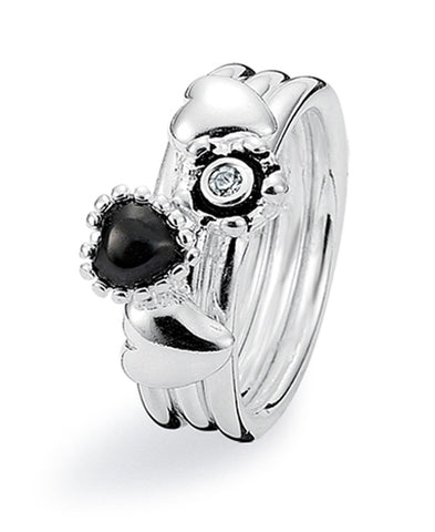Sterling silver ring combination featuring onyx and cubic zirconia