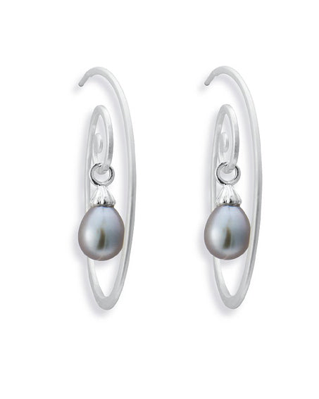 Earring combination 'BLUES' from Spinning Jewelry, featuring sterling silver and grey freshwater pearls.