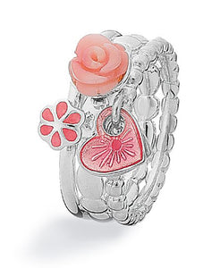 Sterling silver ring combination featuring featuring rose sea bamboo and enamel