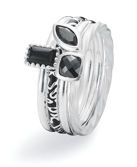 Sterling silver ring combination featuring cat eye, black cubic zirconia and enamel.