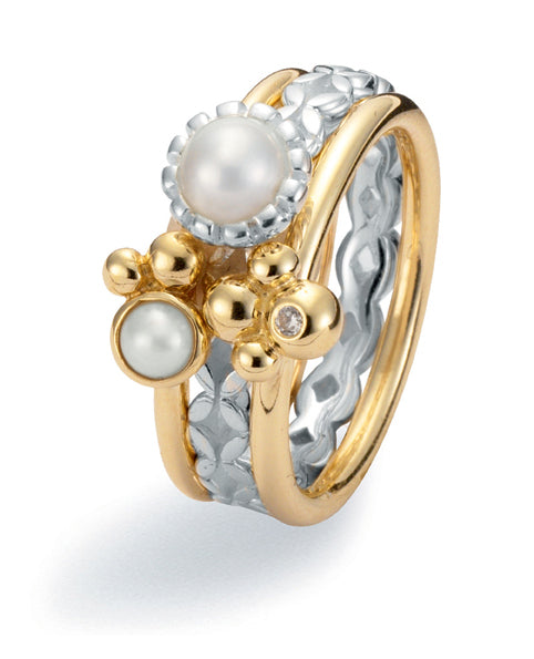 9ct gold and sterling silver ring combination featuring freshwater pearls and cubic zirconia