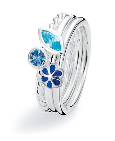 Sterling silver ring combination featuring blue cubic zirconias