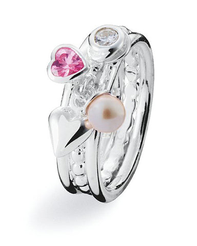 Sterling silver ring combination featuring pink heart cubic zirconia and freshwater pearl