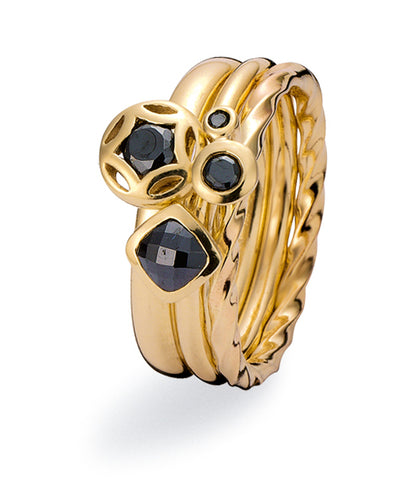 9ct gold ring combination featuring black cubic zirconias