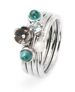 Sterling silver ring combination featuring cubic zirconia and freshwater pearl