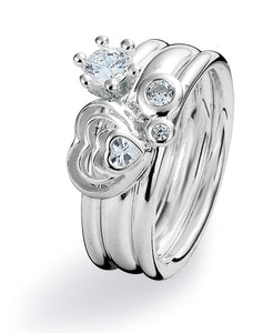Sterling silver ring combination featuring heart shaped cubic zirconia setting