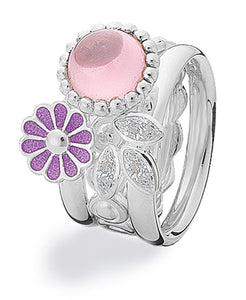 Sterling silver ring combination featuring cubic zirconia and lavender enamel flower setting