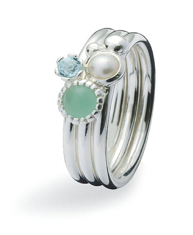 Sterling silver ring combination featuring freshwater pearl and cubic zirconia