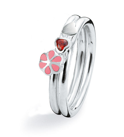 Sterling silver ring combination  featuring cubic zirconia and enamelled flower setting.