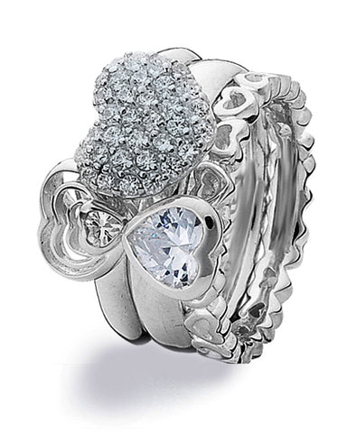 Sterling silver ring combination featuring heart shaped cubic zirconias