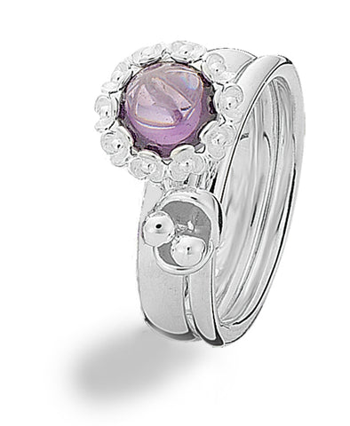 Sterling silver ring combination of models 805-07 and 188-06, featuring amethyst and purple cubic zirconia.