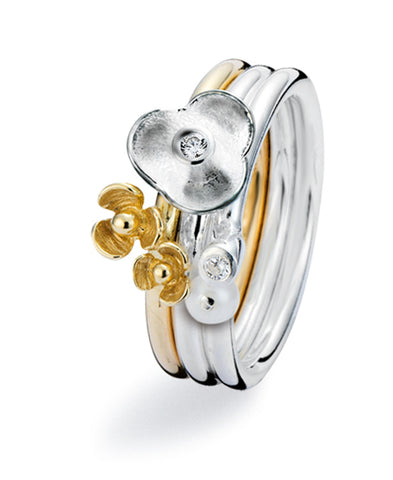 9ct gold and sterling silver ring combination featuring cubic zirconias