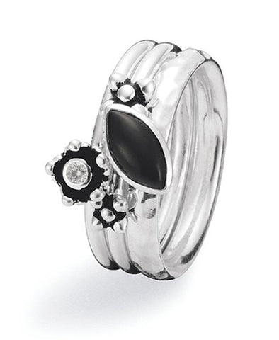 Sterling silver ring combination featuring black cat-eye