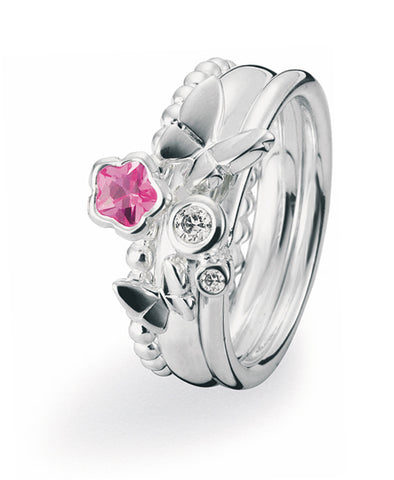 Sterling silver ring combination featuring pink cubic zirconia and butterflies