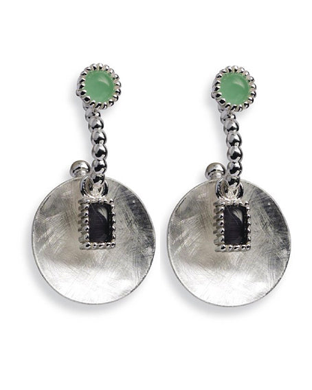 Earring combination 'HAZEL' from Spinning Jewelry, featuring hooks and hangers in sterling silver with synthetic jade and cat eye.