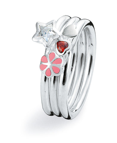 Sterling silver ring combination featuring star shaped cubic zirconia and pink enamel
