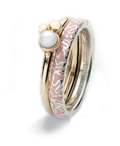 9ct gold and sterling silver ring combination featuring freshwater pearl and pink enamel