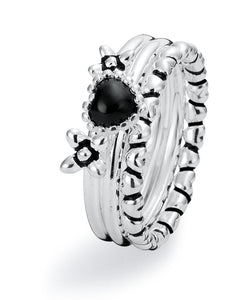Sterling silver ring combination featuring heart and flowers