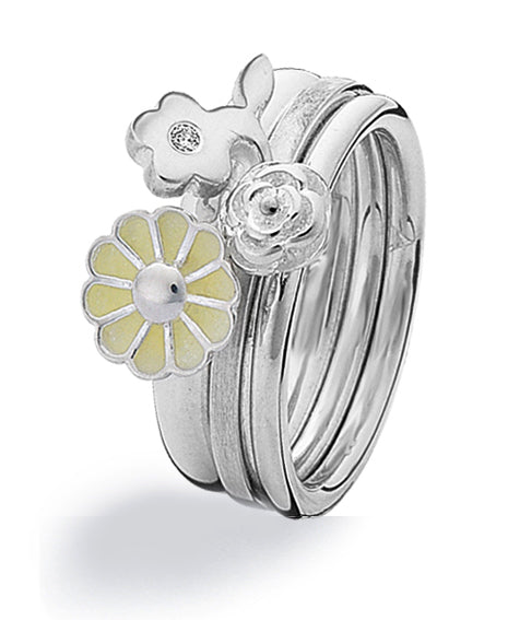 Sterling silver ring combination featuring cubic zirconia and yellow enamel with flower settings