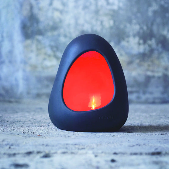 Magma Stone candleholder, red standing