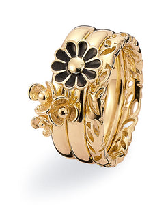 9ct gold ring combination featuring black enamel flower