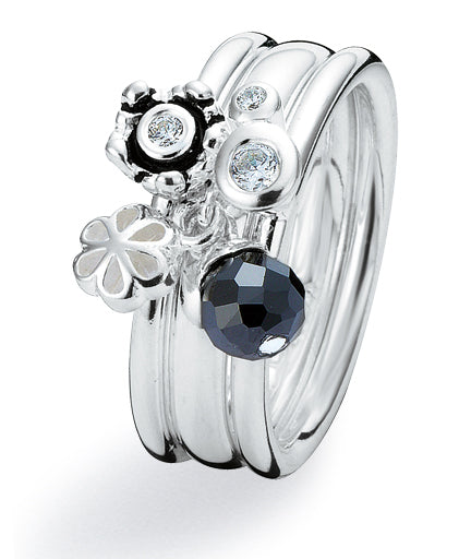 Sterling silver ring combination featuring cubic zirconia and onyx
