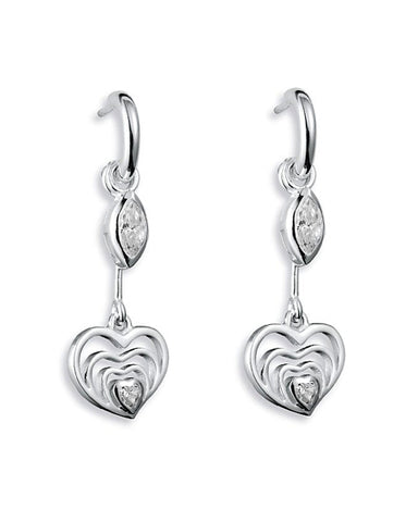 Earring combination 'OPEN YOUR HEART' from Spinning Jewelry, featuring hooks and hangers in sterling silver, with heart motif and cubic zirconias.