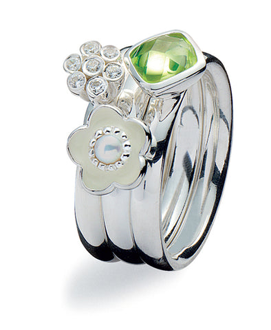 Sterling silver ring combination featuring clear and green cubic zirconias