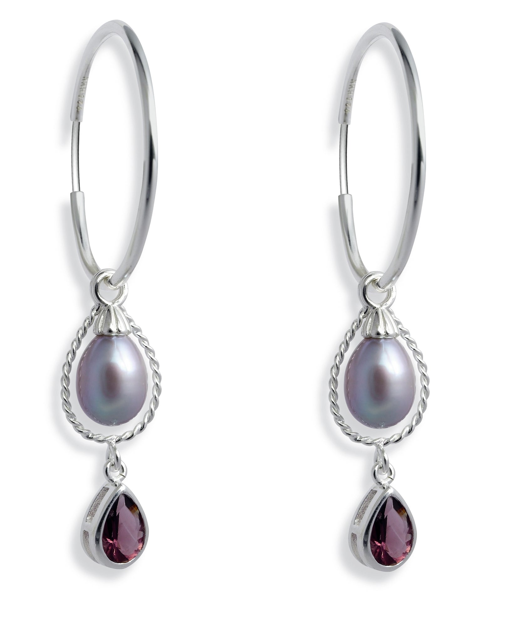 Earring combination 'VELVES' from Spinning Jewelry, featuring hoops and hangers in sterling silver, freshwater pearls and purple glass.