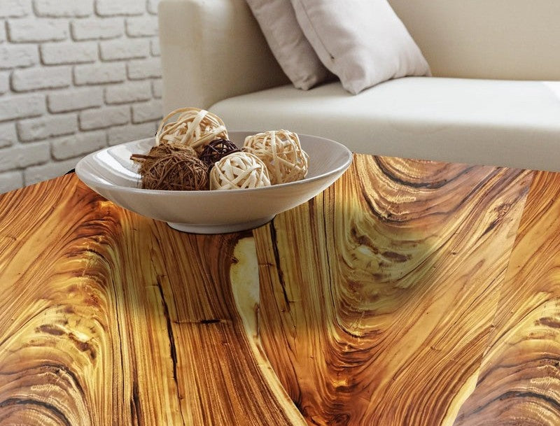 Stunning Finished Natural Acacia Wood Table Top With Bowl Decor