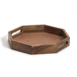 15 inch octagon acacia wood serving tray with handles